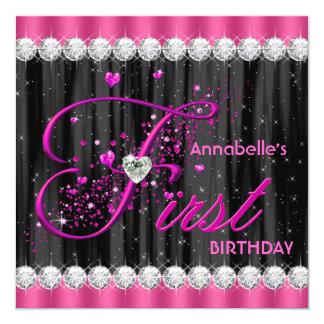 Mädchen-erstes Geburtstags-Party Quadratische 13,3 Cm Einladungskarte