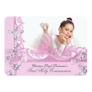Mädchen-erstes heilige Kommunions-hübsches 11,4 X 15,9 Cm Einladungskarte