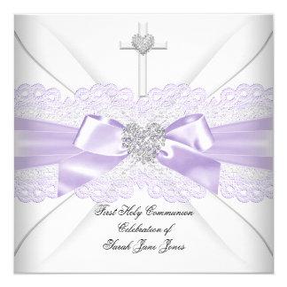Mädchen-erstes heilige Kommunions-lila Quadratische 13,3 Cm Einladungskarte