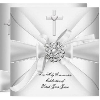 Mädchen-erstes heilige Kommunions-Weiß-Silber Karte