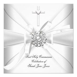 Mädchen-erstes heilige Kommunions-Weiß-Silber Quadratische 13,3 Cm Einladungskarte