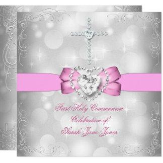 Mädchen-erstes heilige Kommunions-weißes Rosa Karte