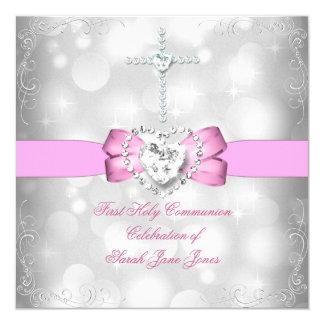 Mädchen-erstes heilige Kommunions-weißes Rosa Quadratische 13,3 Cm Einladungskarte