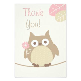 Mädchen-Eulen-Babyparty danken Ihnen 8,9 X 12,7 Cm Einladungskarte