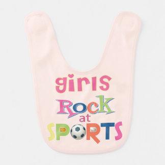 Mädchen-Felsen an den Sport-Baby-Schellfischen Lätzchen