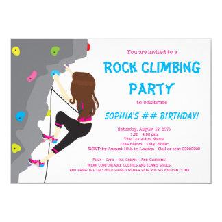 Mädchen-Felsen-Kletterngeburtstags-Party 11,4 X 15,9 Cm Einladungskarte