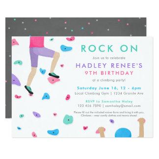 Mädchen-Felsen-Kletterngeburtstags-Party Einladung