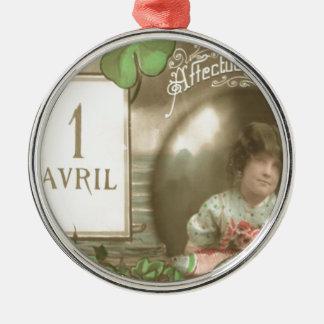 Mädchen-Fischevierblättriges Kleeblatt Poisson Rundes Silberfarbenes Ornament