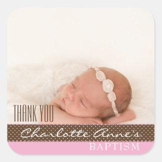 Mädchen-Foto-Taufe danken Ihnen, | rosa Brown zu Quadratischer Aufkleber