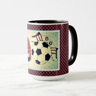 Mädchen-Fußball-Briefmarken-Tasse Tasse