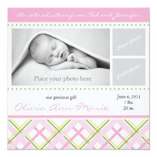 Mädchen-Geburts-Mitteilung - Foto-Karte Quadratische 13,3 Cm Einladungskarte