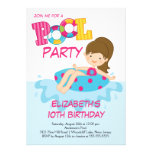 Mädchen-Geburtstags-Sommer-Pool-Party Einladung