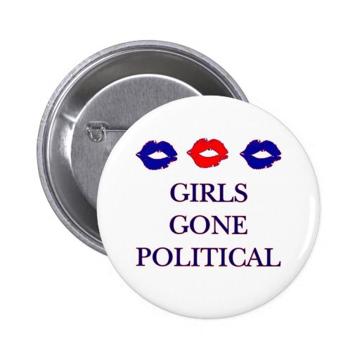 Mädchen gegangener politischer Logo-Knopf Buttons