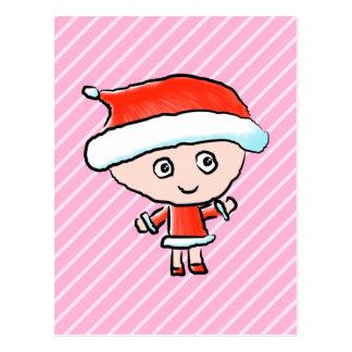 Mädchen gekleidet als Sankt am Weihnachten Postkarte