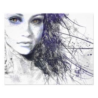Mädchen-Gesicht mustert das Haar-Zeichnen 11,4 X 14,2 Cm Flyer