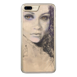 Mädchen-Gesicht mustert das Haar-Zeichnen Carved iPhone 8 Plus/7 Plus Hülle