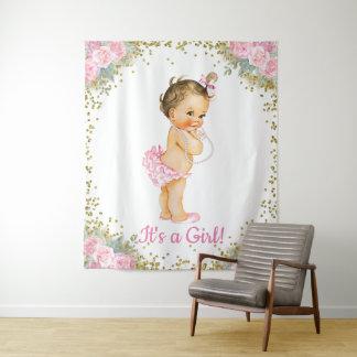 Mädchen-großer Babyparty-Hintergrund Wandteppich