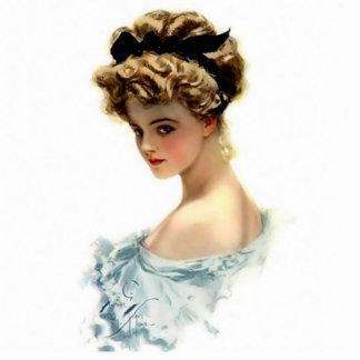 Mädchen Harrison Fisher im blauen Button Fotoskulptur Button