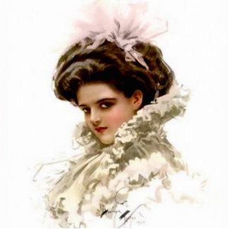 Mädchen Harrison Fisher mit einem rosa Fotoskulptur Button
