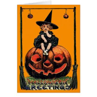 Mädchen-Hexe-lächelnde Jack O Laternen-schwarze Karte