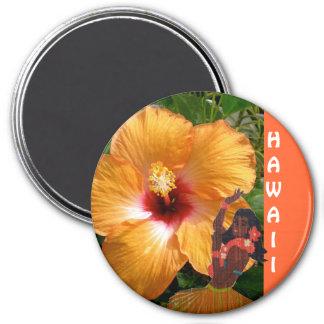 Mädchen-Hibiskus Hawaiis Hula Runder Magnet 7,6 Cm