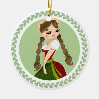 Mädchen im Dirndl Rundes Keramik Ornament