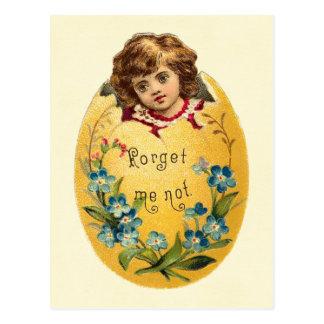 Mädchen im Ei vergessen mich nicht Postkarte
