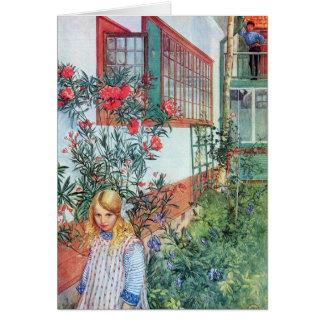 Mädchen im Garten mit roten Blumen Karte