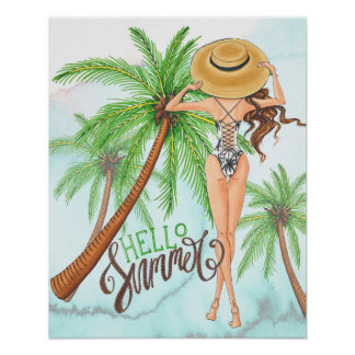 Mädchen im Hut-Mode-Illustrations-hallo Sommer Poster
