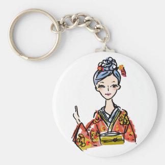 Mädchen im Kimono Schlüsselanhänger
