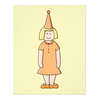 Mädchen im orange Kleider-und Geburtstags-Party-Hu Flyer