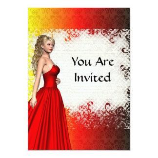 Mädchen im roten Kleid 12,7 X 17,8 Cm Einladungskarte