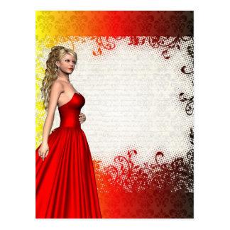 Mädchen im roten Kleid Postkarte