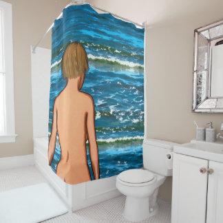 Mädchen im Seemalerei-Duschvorhang Duschvorhang