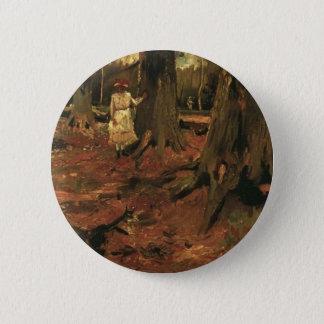 Mädchen im Weiß im Holz, Vincent van Gogh Runder Button 5,1 Cm