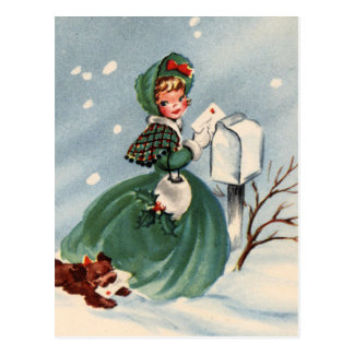 Mädchen in den grünen Mantel-Postsendung-Weihnacht Postkarten