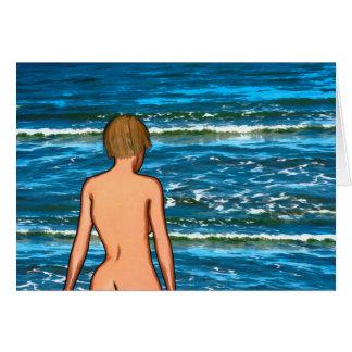 Mädchen in der Seemalerei-Gruß-Karte Karte