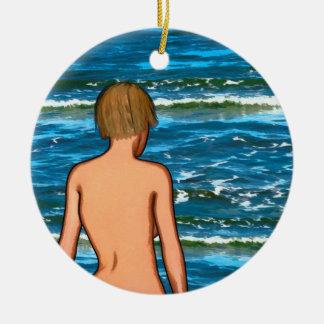 Mädchen in der Seemalerei-Keramik-Verzierung Keramik Ornament