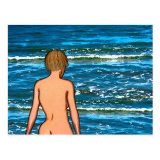 Mädchen in der Seemalerei-Postkarte Postkarte