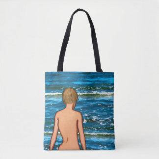 Mädchen in der Seemalerei-Taschen-Tasche Tasche