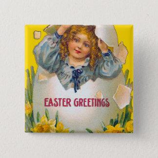 Mädchen in Ei-Ostern-Knopf Quadratischer Button 5,1 Cm