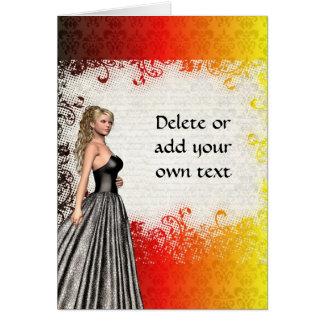 Mädchen in einem Kleid des silbernen Graus Karte