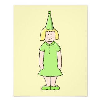 Mädchen in einer grünen Geburtstags-Ausstattung 11,4 X 14,2 Cm Flyer