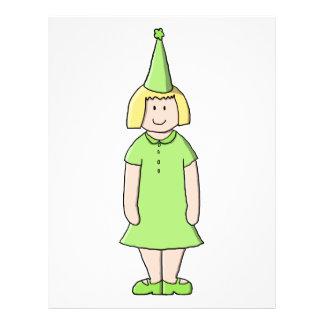 Mädchen in einer grünen Geburtstags-Ausstattung Flyers