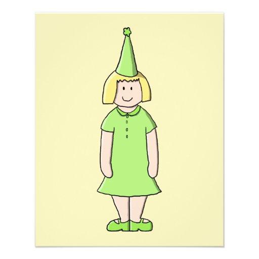 Mädchen in einer grünen Geburtstags-Ausstattung Flyerdesign