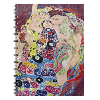 Mädchen (Jungfrau), Gustav Klimt, Vintage Kunst Notizblock