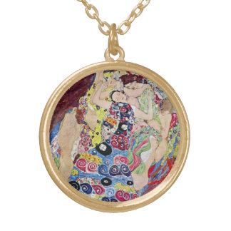 Mädchen (Jungfrau), Gustav Klimt, Vintage Kunst Vergoldete Kette