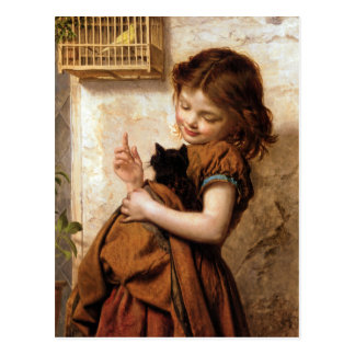 Mädchen, Kitty-Katze u. Vogel - Vintage Malerei Postkarte