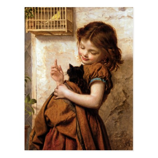 Mädchen, Kitty-Katze u. Vogel - Vintage Malerei Postkarten