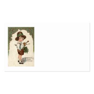 Mädchen-Kleeblatt-Violinen-St Patrick Tag Visitenkartenvorlage
